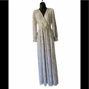Ricarica Flowy Leopard Print V neck Maxi Dress